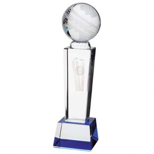 Tribute Cricket Crystal Award 220mm